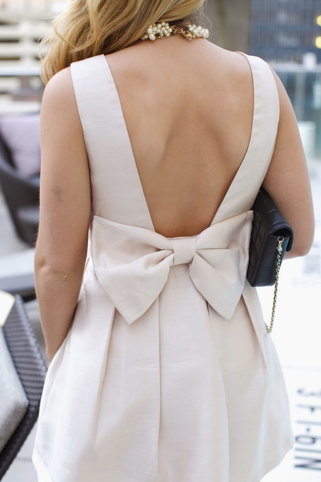 preppy bow back cocktail dress