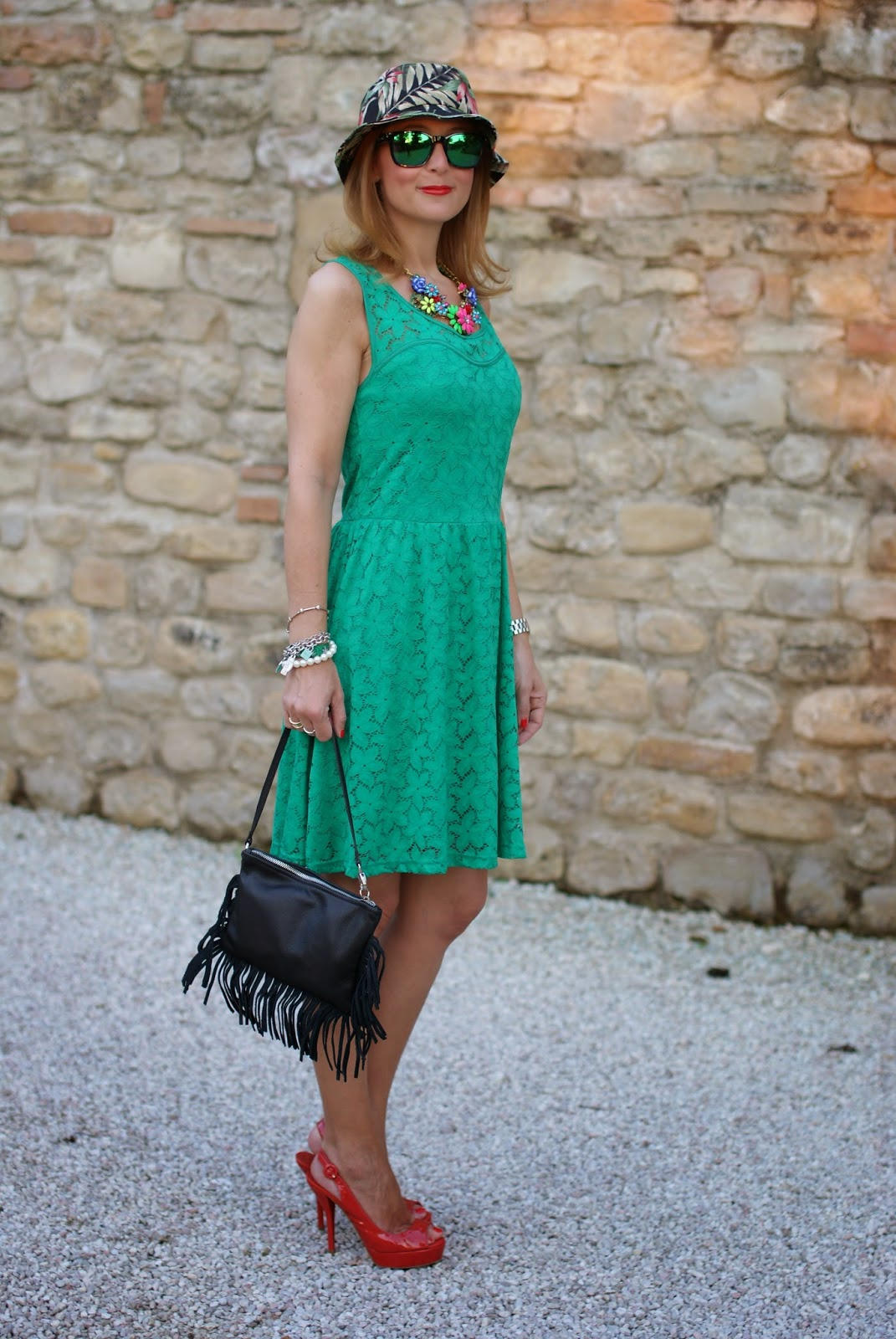 Morgan de toi lace dress, castaner heels, fringed bag, bob hat, oakley green sunglasses, Fashion and Cookies, fashion blogger