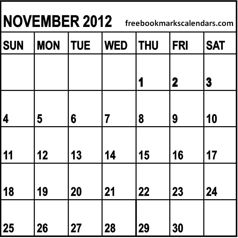 Blank November 2013 Calendar
