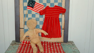 Rag Dolly and her 1800's Turkey Red Calico Dress
