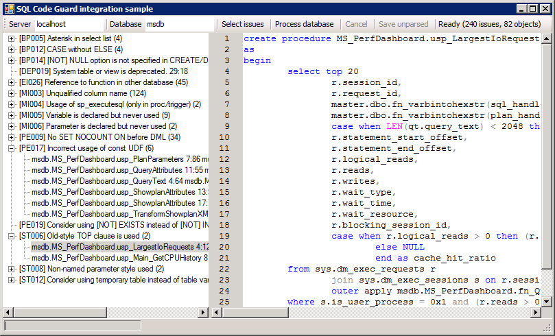 SQLCodeGuardIntegrationSample