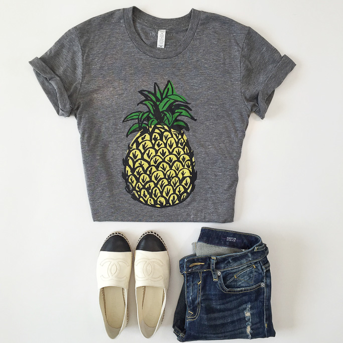chanel espadrilles Ily Couture pineapple tshirt Vigoss distressed skinny jeans