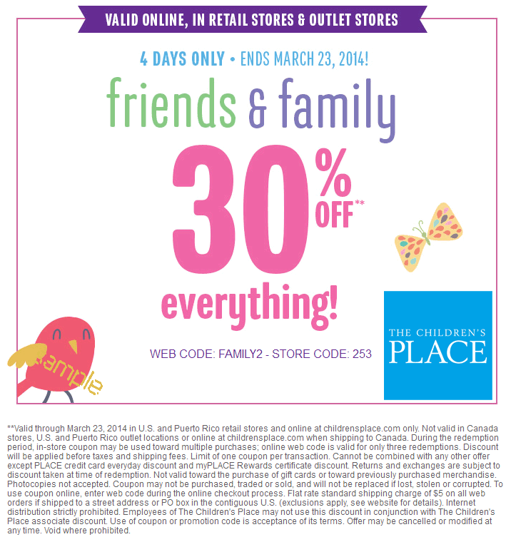 Shopping with Children's Place coupons and 20% OFF Code, 30% OFF Code for 12 Get Children's Place free shipping+ UP TO 50% OFF discount & Clearance.