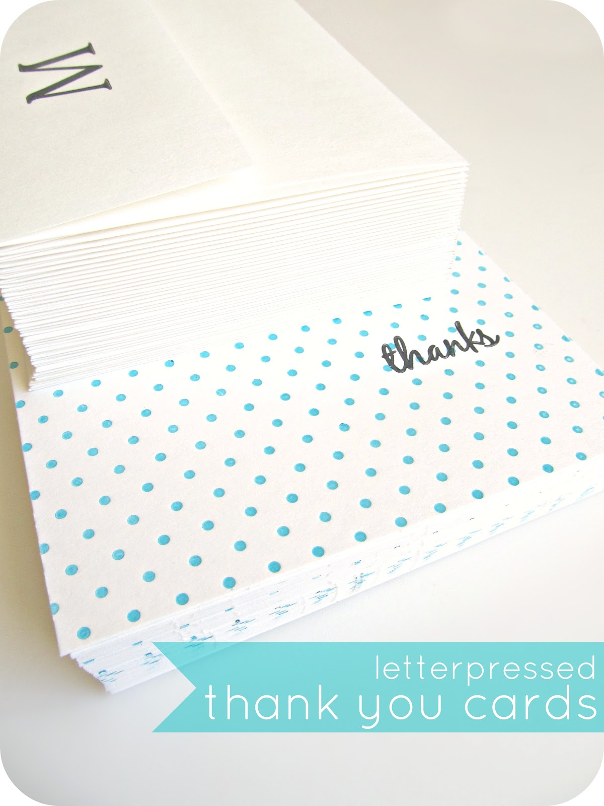 homemade by jill: letterpressed thank you cards (a bridal shower gift)