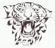 (Dibujo sobre papel 8 cm x 7 cm). Lo que vez es simplemente eso, apariencia, . dibujo de un tigre