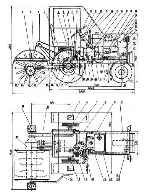 Минитрактор 4х4 с двигателем ока чертежи