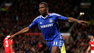 Didier Drogba for Chelsea against Manchester United