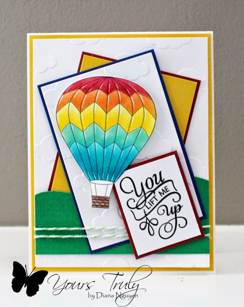Diana Nguyen, hot air balloon, Verve, handmade, card