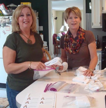 Marlton Woman's Club packaging socks for Domestic Violence shelter