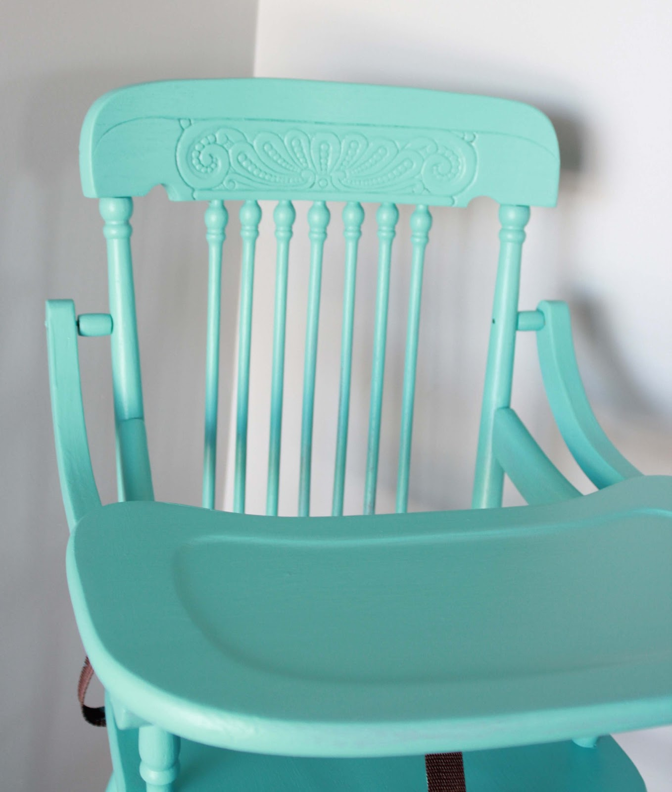 Painted wooden high chair viewing gallery