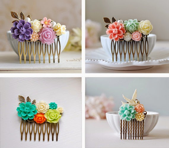 flower collage hair combs