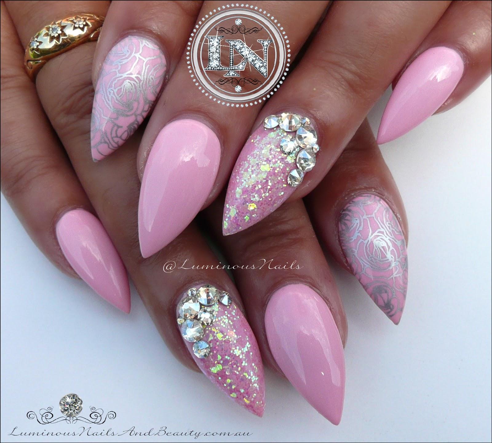 Pink and silver nails - Luminous Nails Plush Pink Silver Acrylic Gel