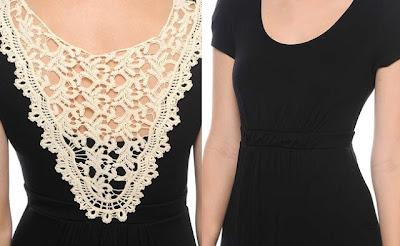 """""""vestido-preto-básico-com-renda-nas-costas-ideia-para-customizar-vestido-básico""""www.alinhavosdemoda.com.br"""