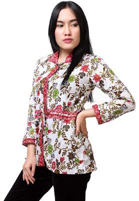 baju batik wanita kantoran lengan panjang