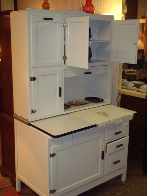 Less is plenty grandma 39 s hoosier cupboard for Antique white kitchen cabinets for sale