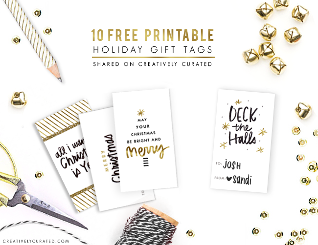 FREE DOWNLOAD | 10 PRINTABLE HOLIDAY GIFT TAGS by SANDI DEVENNY | Shared on CreativelyCurated.com #free #download # gifttag #holiday #handlettering