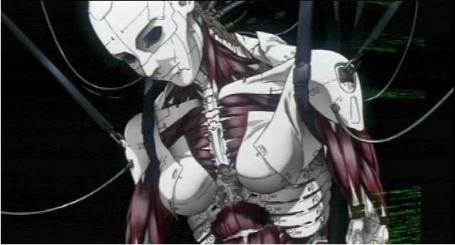 Female cyborg in Ghost in the Shell 1995 animatedfilmreviews.blogspot.com