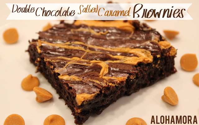 Double Chocolate Salted Caramel Brownies.  Easy to make dessert from a box/brownie mix.  So delicious, looks fancy, and made in 30 minutes.  Alohamora Open a Book http://www.alohamoraopenabook.blogspot.com/ brownies, chocolate, easy, quick, dessert, simple recipe