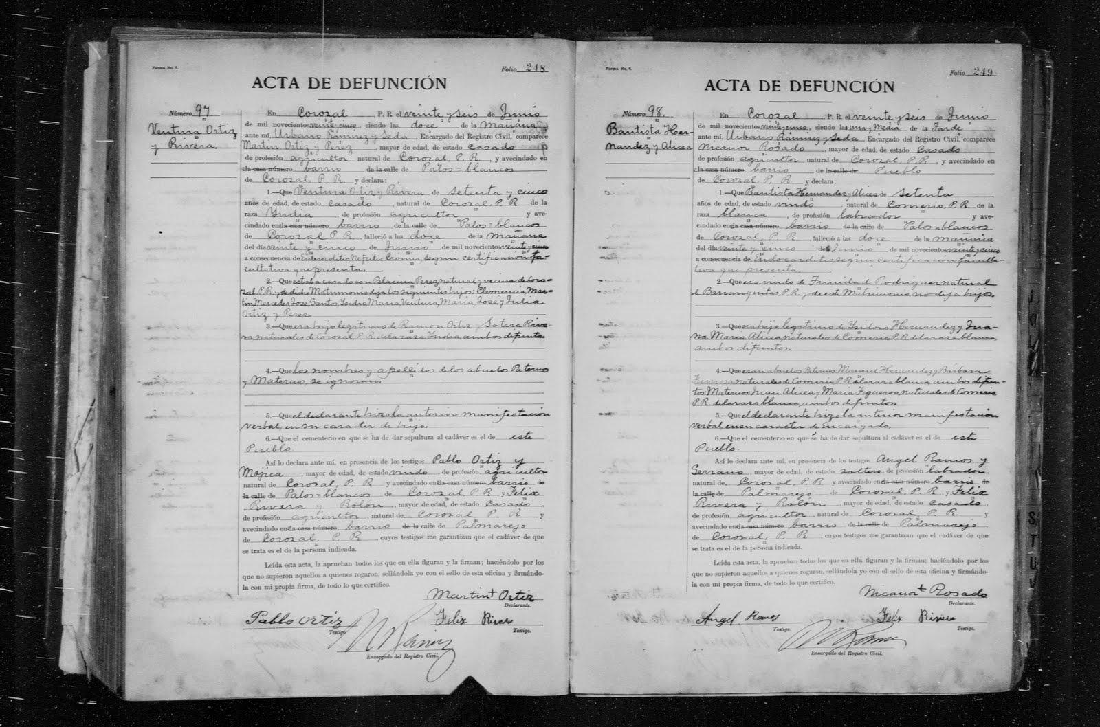 Genealogy under construction july 2011 buenaventura ortiz riveras death certificate aiddatafo Gallery