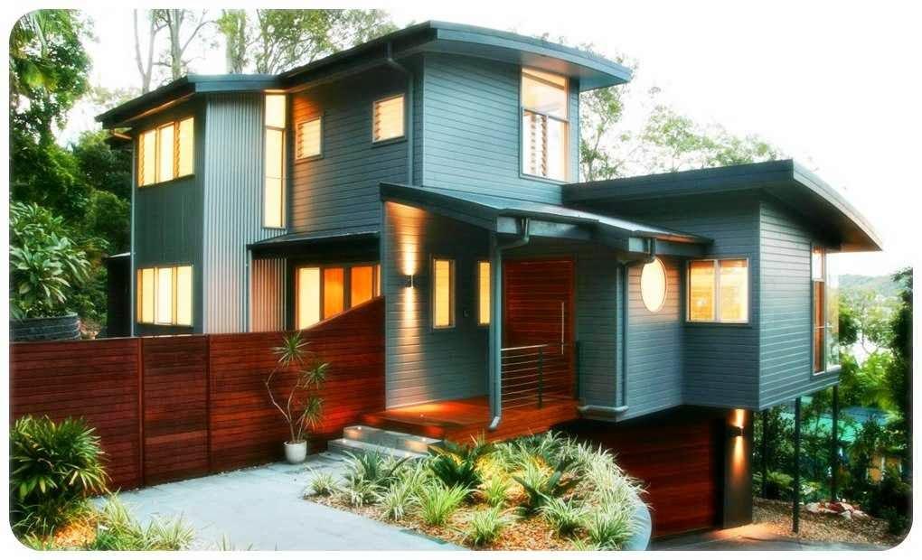 desain rumah kayu 2 lantai