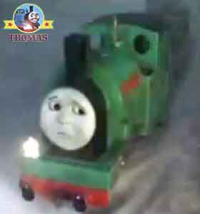 Thomas the tank engine Peter Sam the train narrow gauge railway track shining in the night sky mist