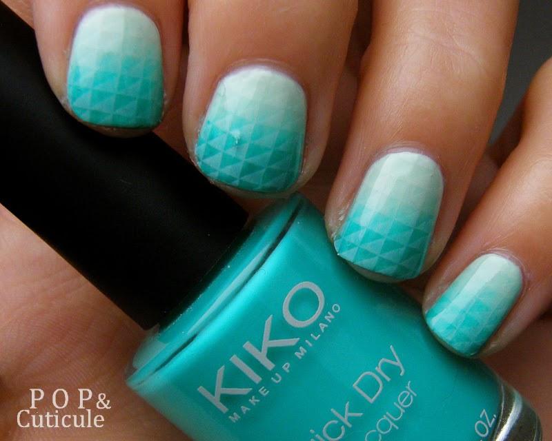 Pop & Cuticule Tuto Nail Art Dégradé Mint Stamping Graphique, Nail art vert