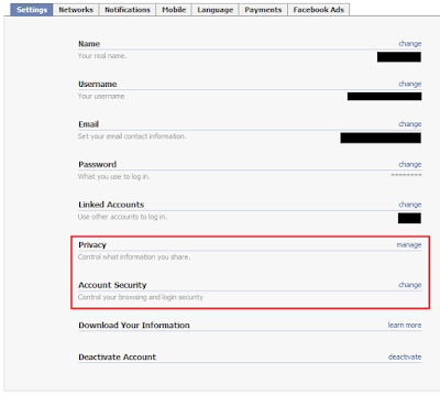 account setting Amankan Akun Facebook Dari Hacker