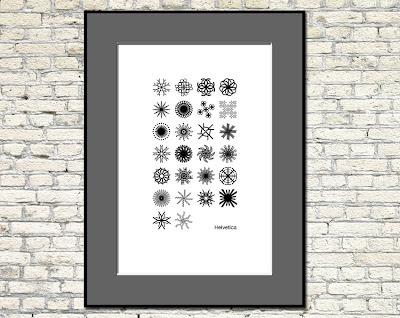 helvetica type art snowflake poster