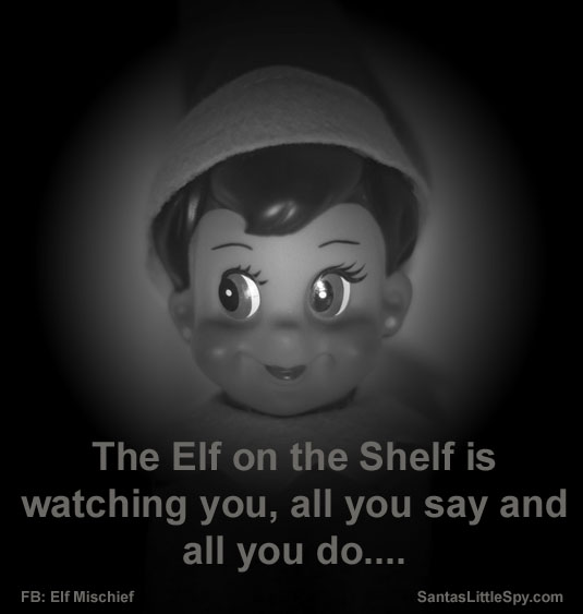 Elf on the Shelf funny watching photo idea
