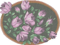 Flowers in wooden frame free pattern preview. Free cross-stitch patterns
