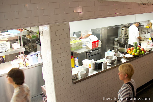 Photo of the kitchen at Nopi Restaurant in London, England.