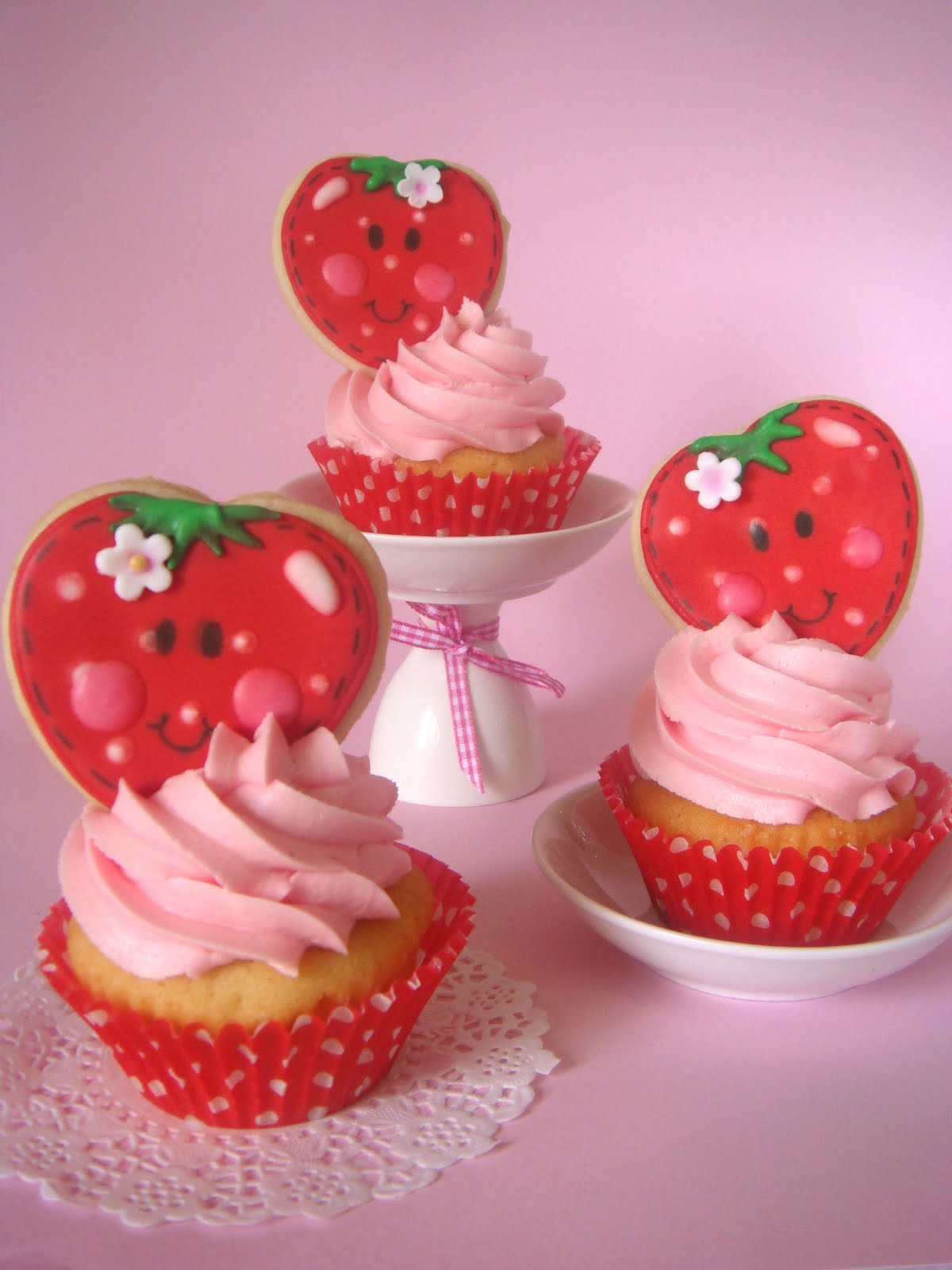 butter hearts sugar: Strawberry Shortcake Cupcakes