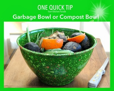 A garbage bowl or compost bowl, the most-used tool in my kitchen.