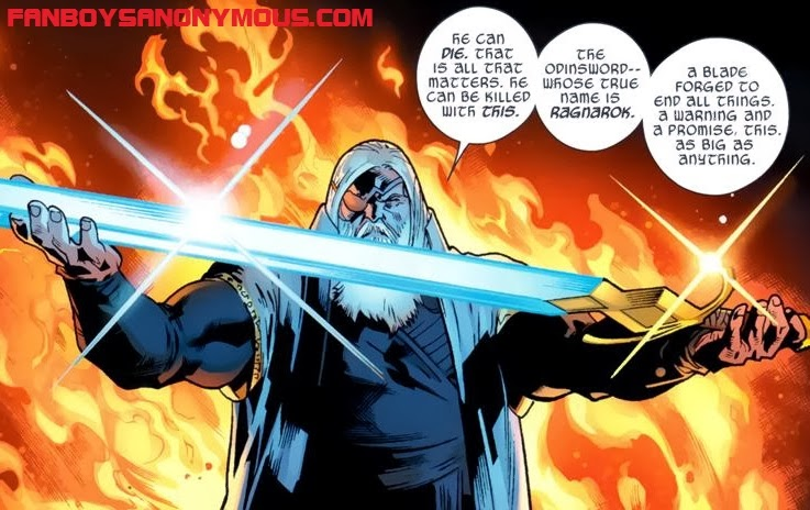 Thor Allfather of Asgard Odin during the apocalypse in Marvel's Fear Itself