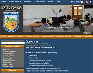 Ingresantes examen ordinario Universidad Nacional Micaela Bastidas 2014-II resultados domingo 7 de Setiembre