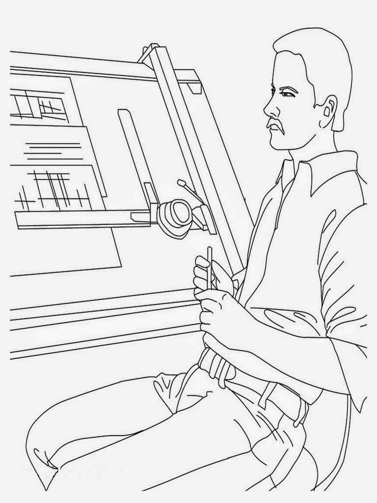 printable coloring pages jobs architect