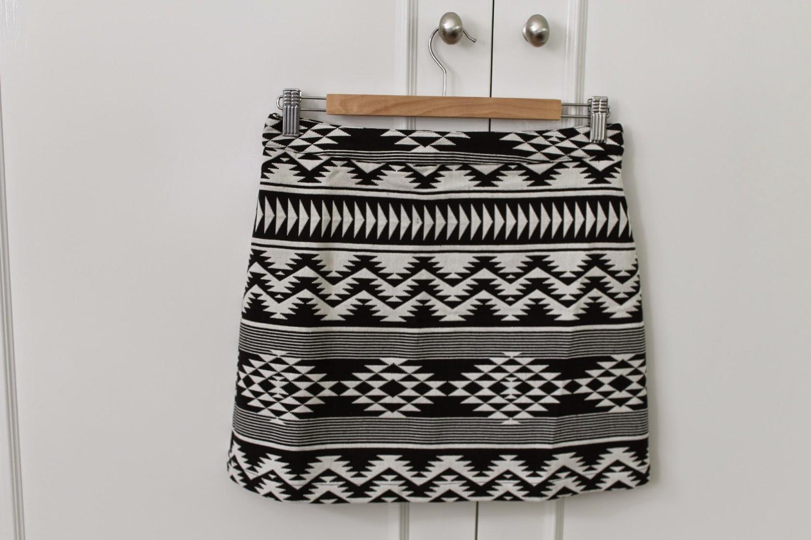 Topshop Black Aztec Print Skirt