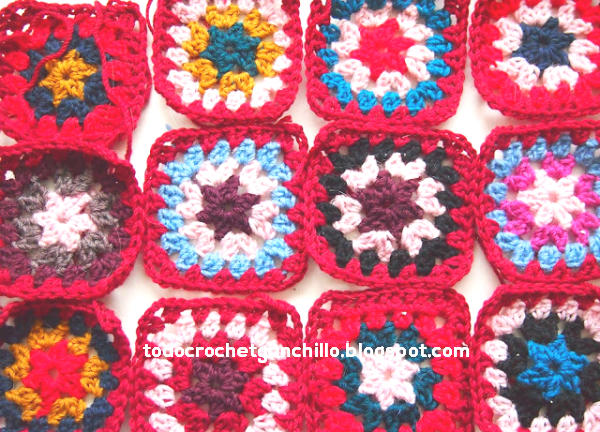 grannys crochet en color rojo de base