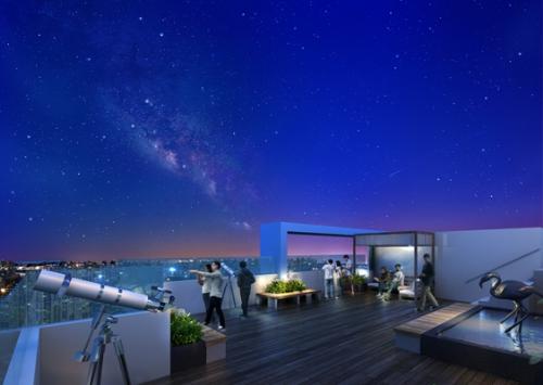 Đài vọng cảnh tầng 41 dự án Seasons Avenue, Mỗ Lao, Hà Đông.