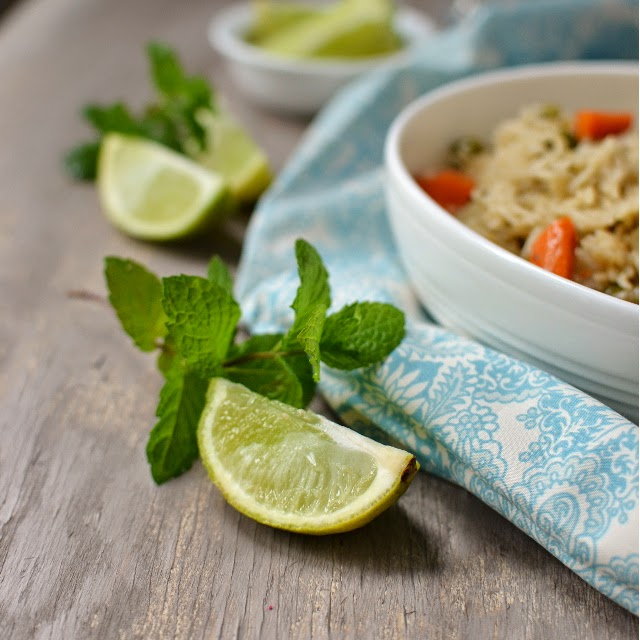 Pudina Vegetable Pulao (Mint flavored Vegetable Pilaf)