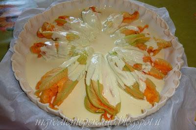 Torta salata con fiori di zucca-ingrediente perduto