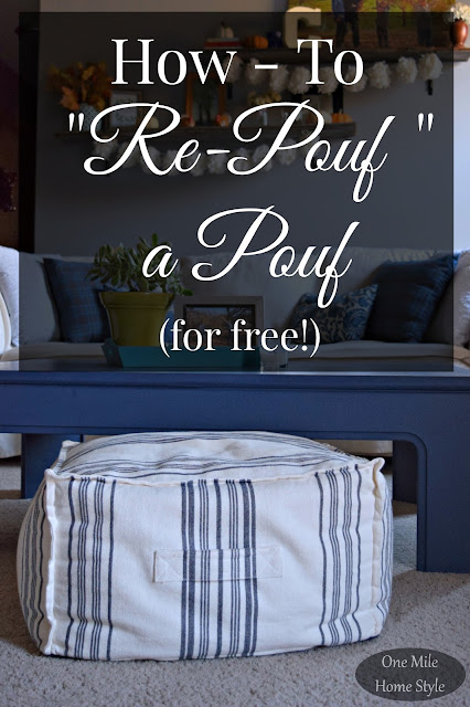 How To Re-Pouf A Pouf for FREE using plastic grocery bags! - One Mile Home Style