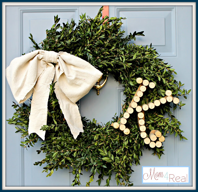 Boxwood Wreath With Wine Cork Monogram at mom4real.com