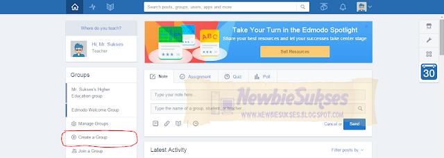 Jika sudah login menggunakan akun Edmodo untuk guru anda, silahkan klik Create a Group.