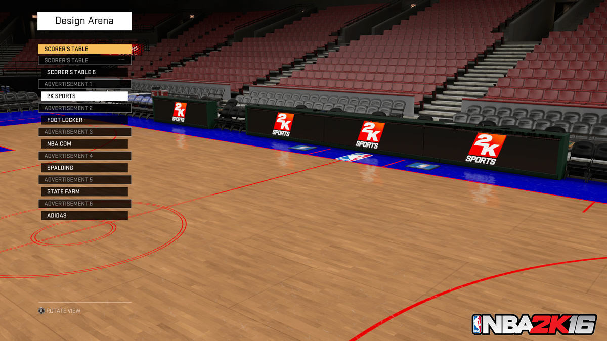 NBA 2k16 MyGM, MyLeague Modes : Design Arena