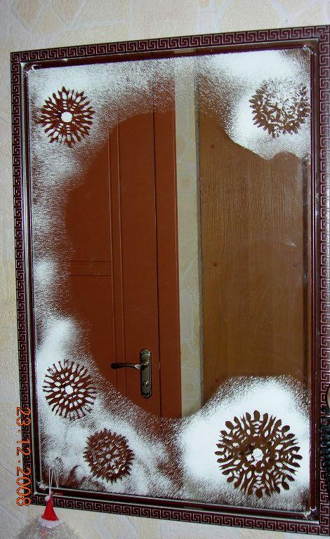 Раскрасить на новый год зеркало
