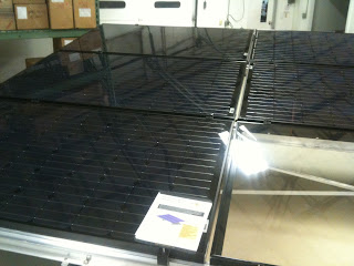 Ballasted ground mount solar PV, left side