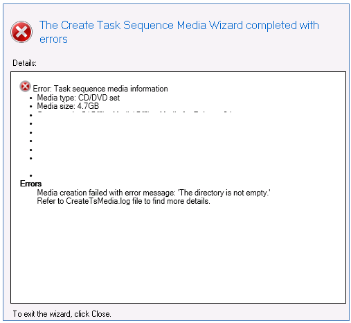 the create task sequence media wizard completed with errors
