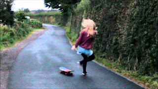 A Girl Fall Off From The Skateboard