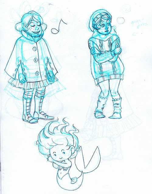 Chibi mermaid, girl in sweater, girl singing in cape